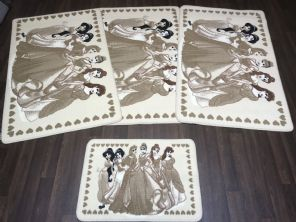 ROMANY GYPSY WASHABLES  2019 SETS OF 4 MATS CREAM-BEIGE NON SLIP DISNEY PRINCESS (1)